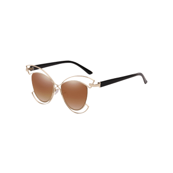 Anti Fatigue Metal Hollow Out Frame Novelty Sunglasses - BROWN BEAR