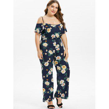 Floral Plus Size Wide Leg Jumpsuit - NAVY BLUE 1X