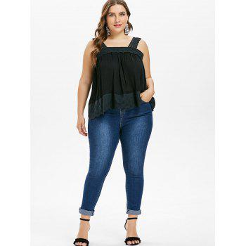 Plus Size Square Neck Tank Top - BLACK L