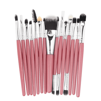 15 Pcs Ultra Soft Fiber Hair Foundation Eyeshadow Eyebrow Makeup Brush Collection - LIGHT PINK