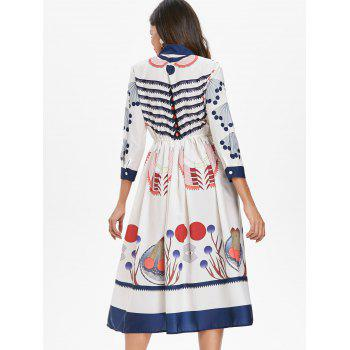 Bow Neck Printed Midi Flare Dress - WARM WHITE XL