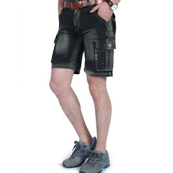 Zipper Fly Dyed Cargo Shorts - BLACK 36