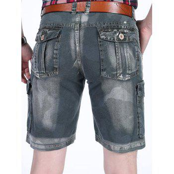 Zipper Fly Dyed Cargo Shorts - GRAY 36