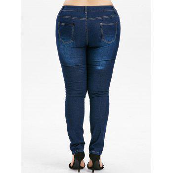 Zipper Fly Plus Size Ripped Jeans - DENIM DARK BLUE 2X