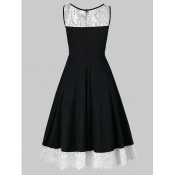 Lace Panel Sleeveless Pin Up Dress - BLACK 2XL