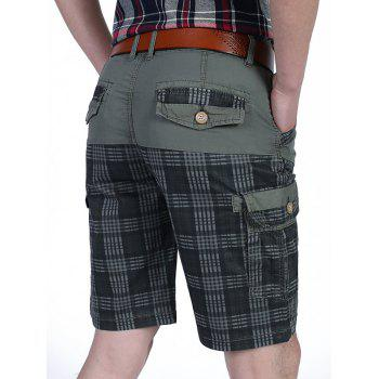 Tartan Design Patchwork Pockets Cargo Shorts - GRAY 40