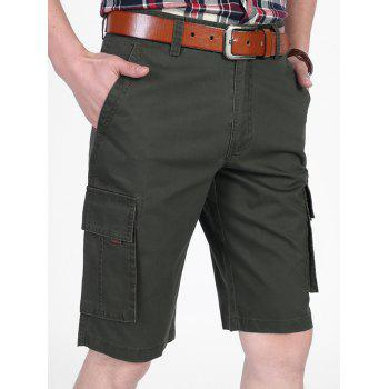 Zipper Fly Letter Printed Pocket Cargo Shorts - ARMY GREEN 38