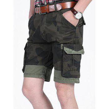 Camo Printed Six-pocket Cargo Shorts - CAMOUFLAGE GREEN 36