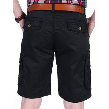 Zipper Fly Pockets Cargo Shorts - BLACK 36