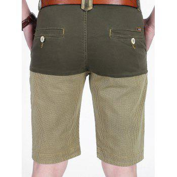 Patchwork Slim Stripe Print Pockets Casual Shorts - LIGHT KHAKI 34