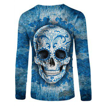 Flower Skull Print Casual T-shirt - BLUE IVY M