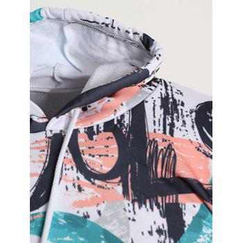 Hand-painting Pattern Pullover Hoodie - DARK TURQUOISE XS