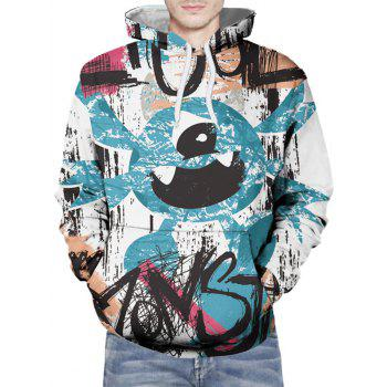 Hand-painting Pattern Pullover Hoodie - DARK TURQUOISE S