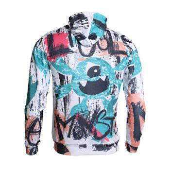 Hand-painting Pattern Pullover Hoodie - DARK TURQUOISE L