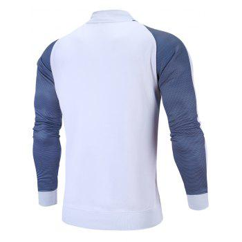 Zip Up Stripe Raglan Sleeve Jacket - WHITE XL