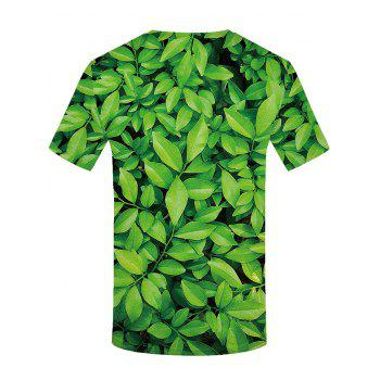 3D Leaves Print Round Neck T-shirt - SPRING GREEN L