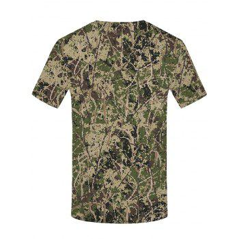 Digital Camouflage Print Round Neck T-shirt - ARMY BROWN M