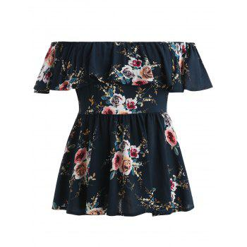 Plus Size Floral Off Shoulder Blouse - DEEP BLUE 1X