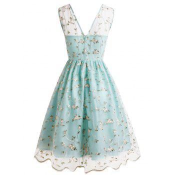 Tiny Flower Lace Overlay Cocktail Dress -