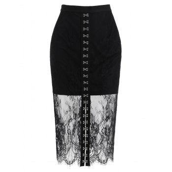 Buckle Up Lace Overlay Skirt - BLACK M