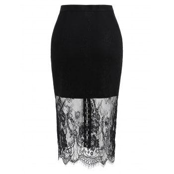 Buckle Up Lace Overlay Skirt - BLACK S