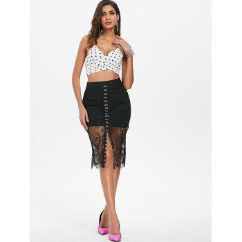 Buckle Up Lace Overlay Skirt - BLACK XL