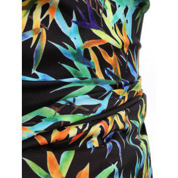 Long Sleeve Allover Colorful Bamboo Leaf Print Shirt - multicolor 2XL