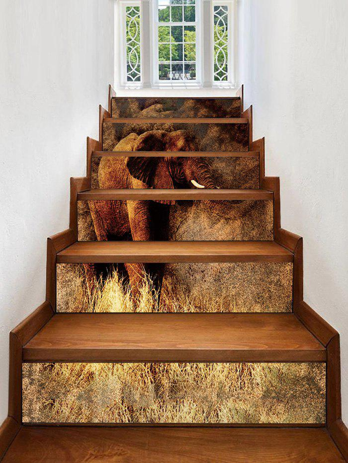Elephant Printed PVC Stair Decals - multicolor 6PCS:39*7 INCH( NO FRAME )