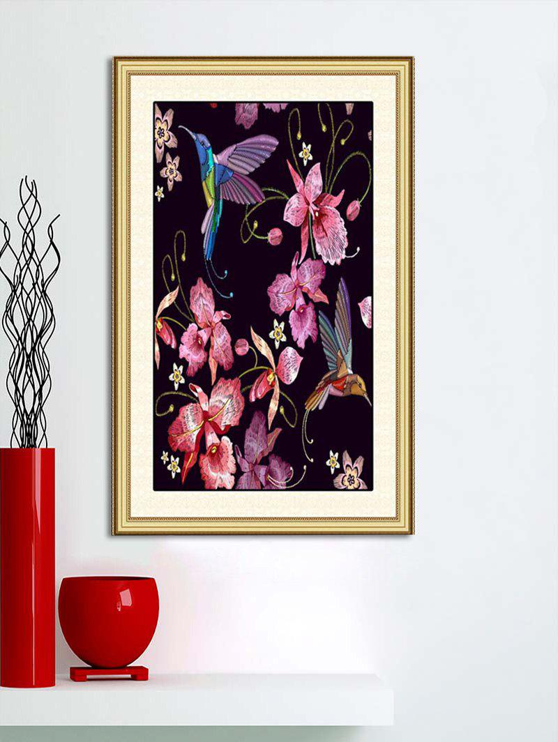 Flowers and Birds Print Wall Art Sticker - multicolor W42CM*L58CM