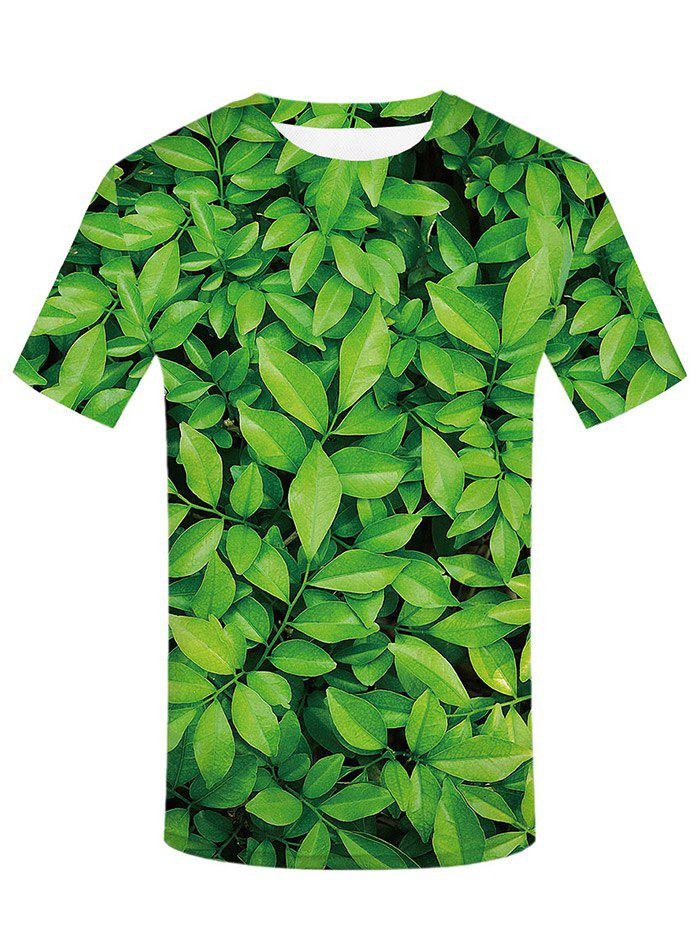 3D Leaves Print Round Neck T-shirt
