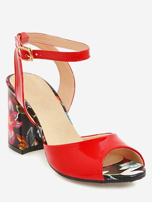 Plus Size Ankle Strap Chunky Heel Floral Sandals