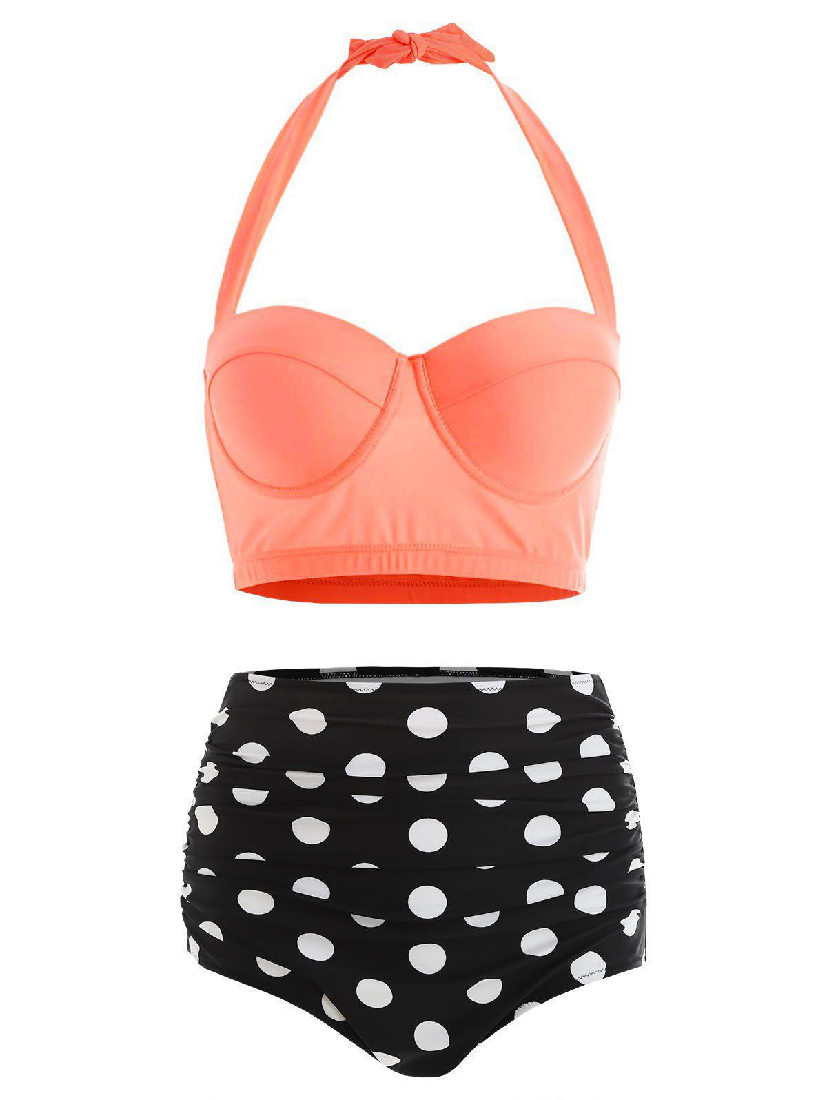 Plus Size Halter High Waist Polka Dot Bikini - SUNRISE ORANGE 3XL
