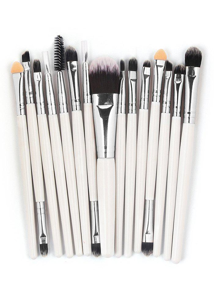 15 Pcs Ultra Soft Fiber Hair Foundation Eyeshadow Eyebrow Makeup Brush Collection - WHITE