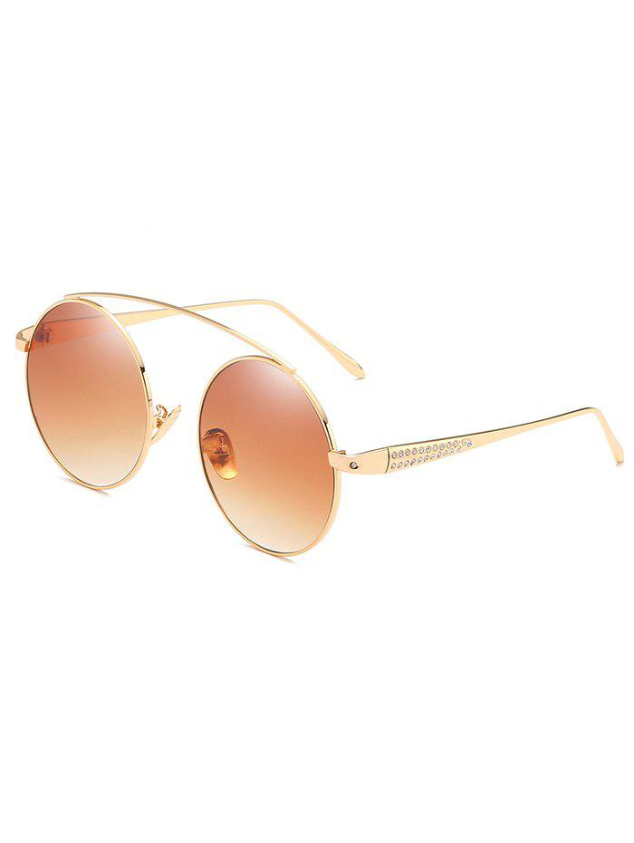 Stylish Rhinestone Inlaid Crossbar Round Sunglasses - LIGHT BROWN
