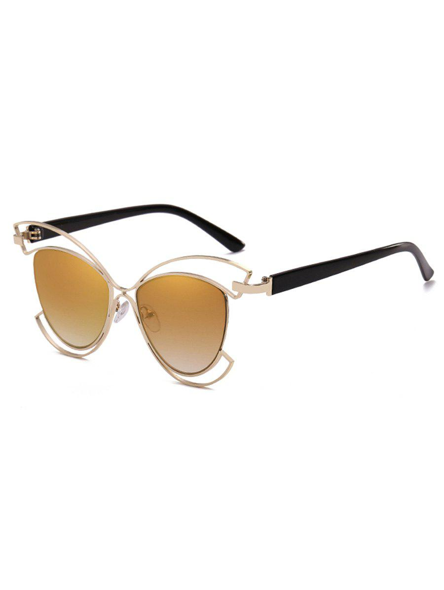 Anti Fatigue Metal Hollow Out Frame Novelty Sunglasses - ORANGE GOLD