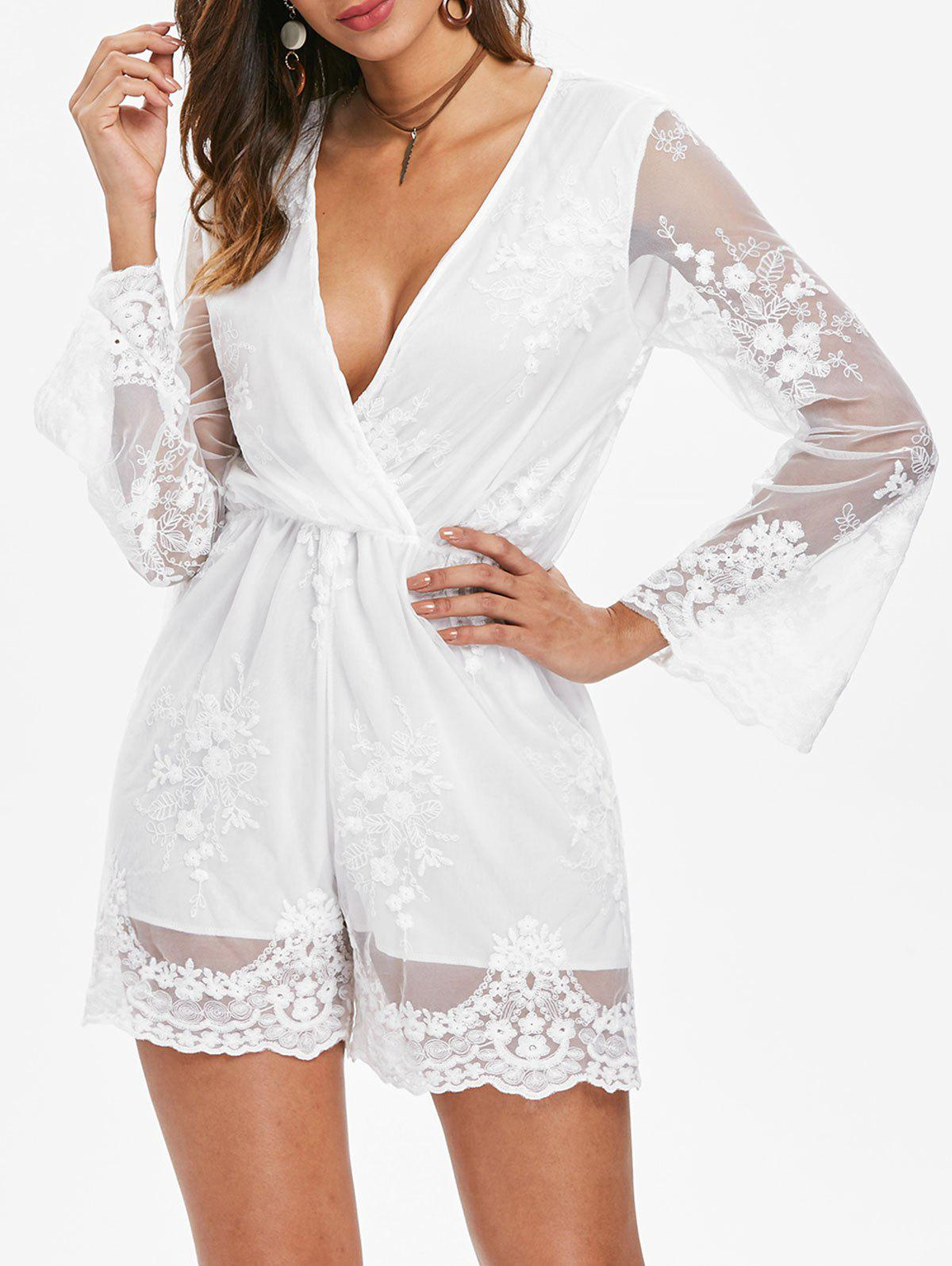 Lace Long Sleeve Romper - WHITE XL