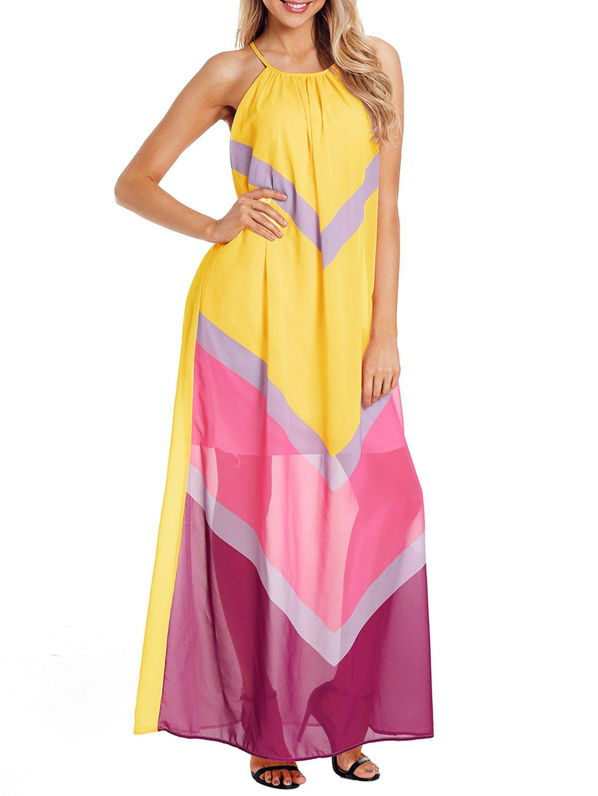 Chiffon Color Block Floor Length Dress - YELLOW S