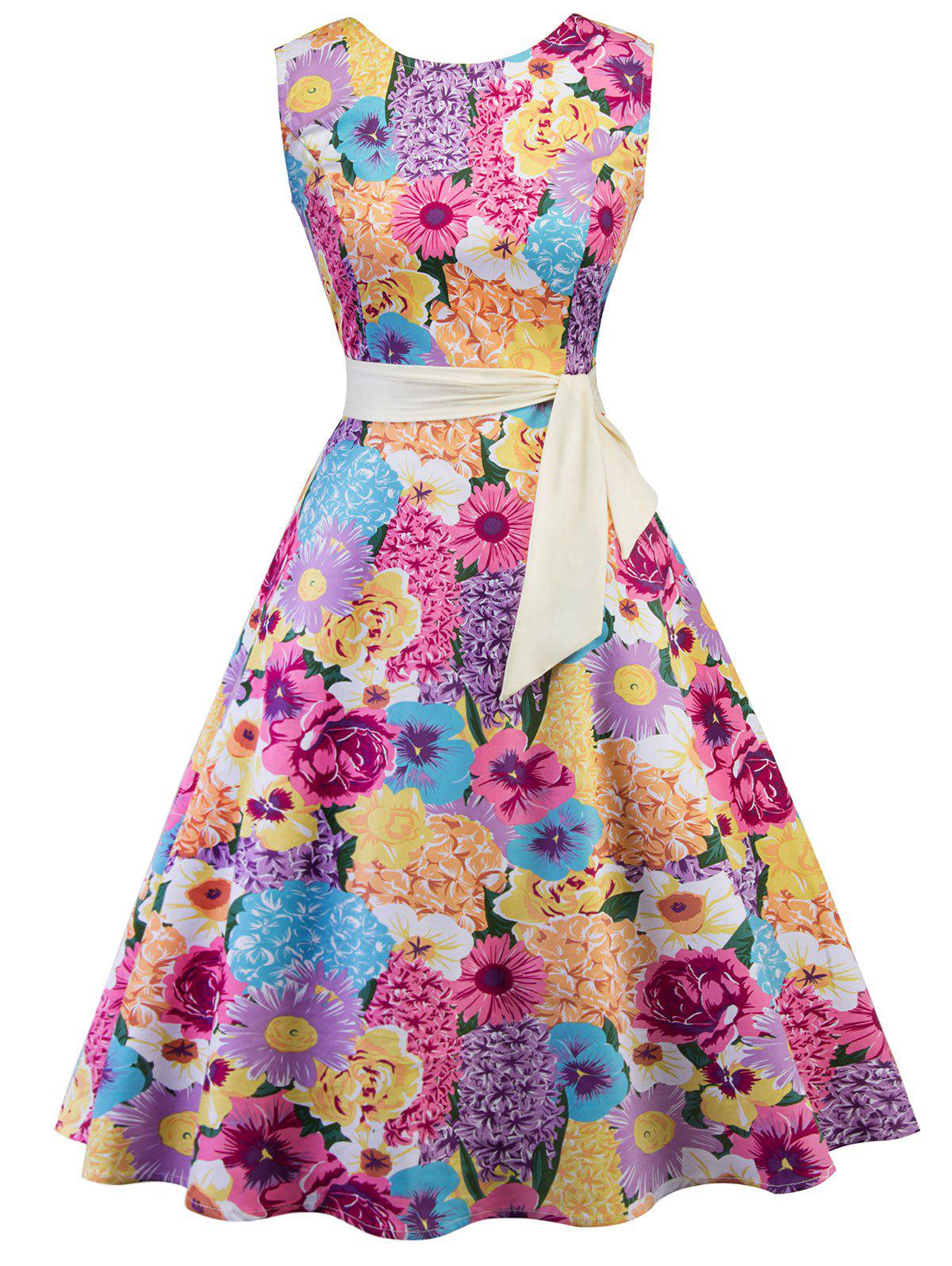 Sleeveless Floral Print Vintage Dress - multicolor XL