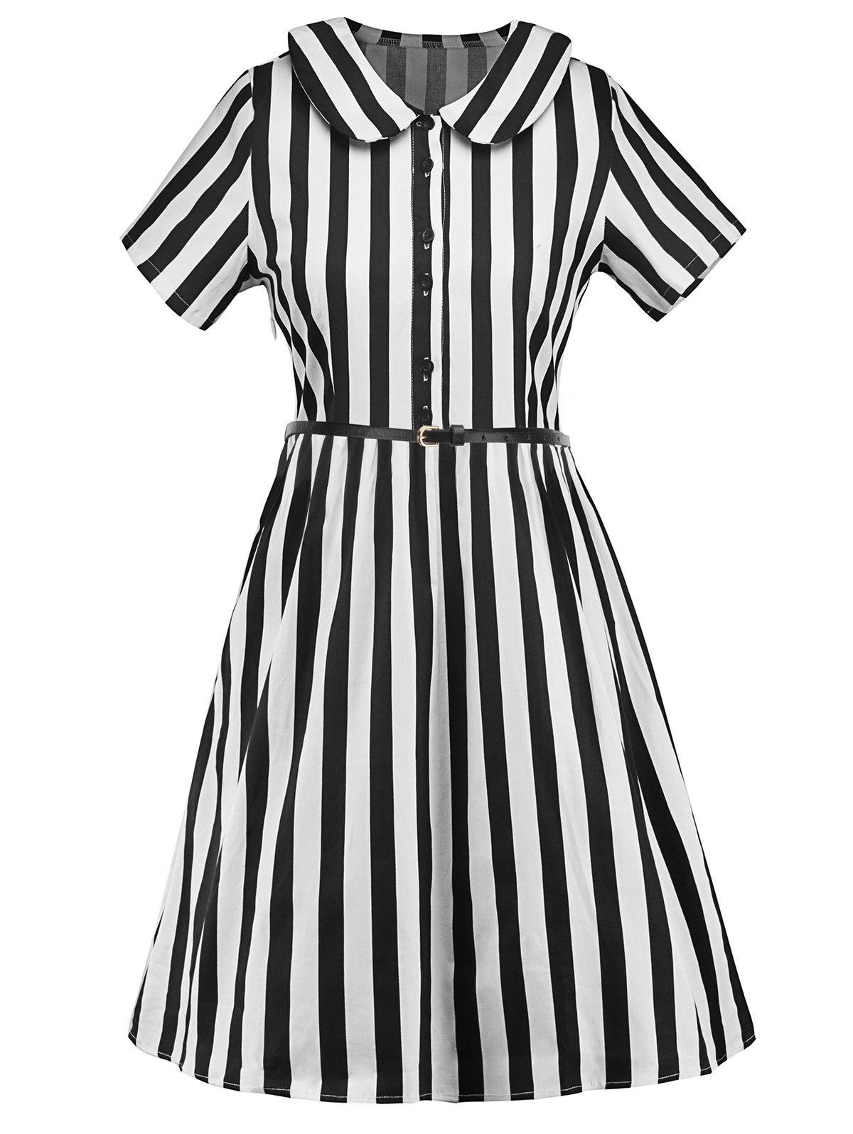 Short Sleeve Striped Dress with Belt - BLACK M