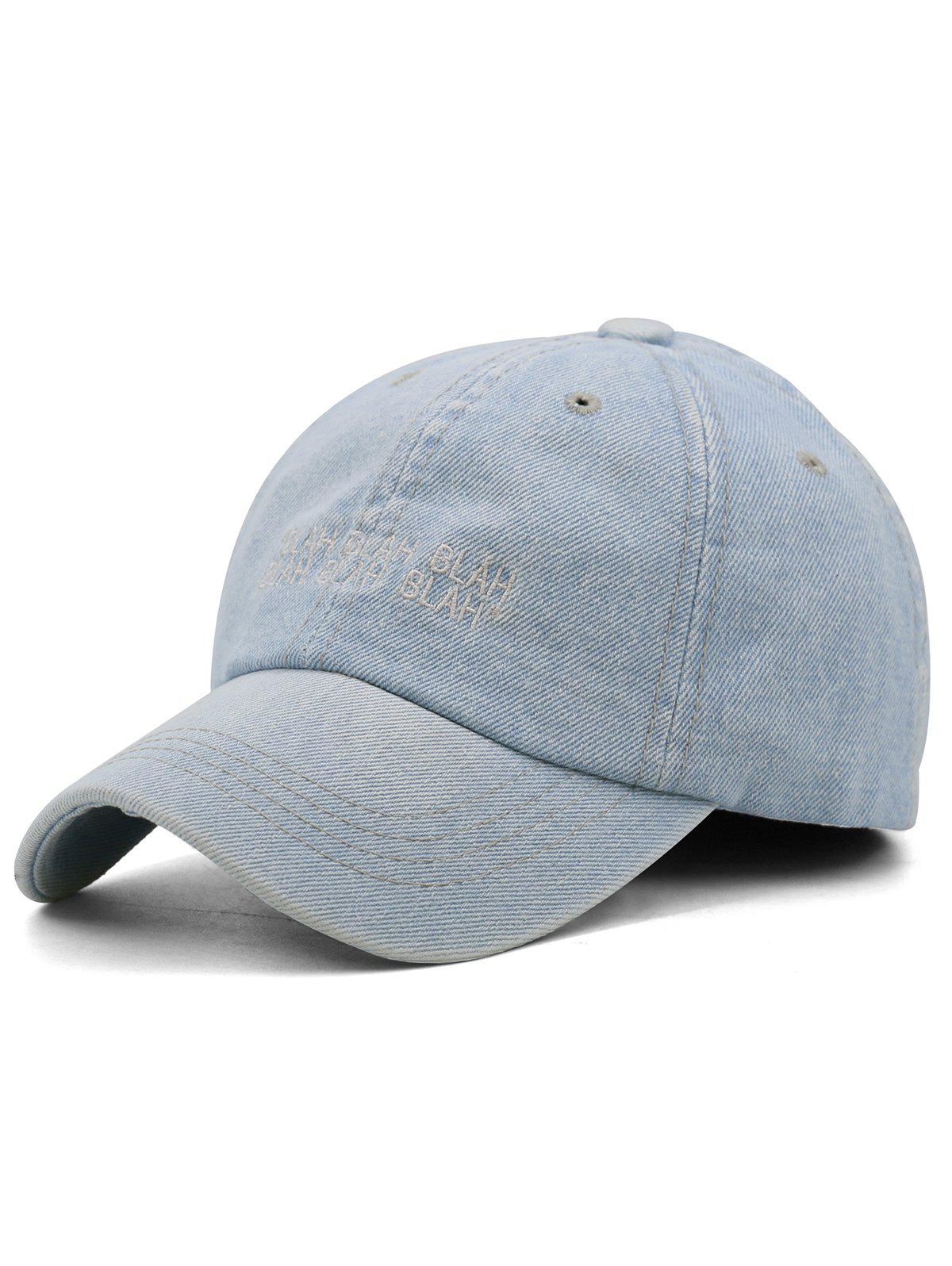 Fun Letter Embroidery Washed Dyed Trucker Hat - LIGHT BLUE