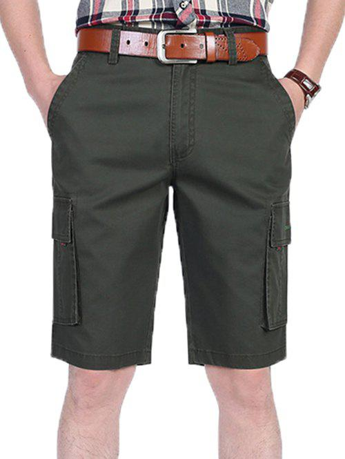 Zipper Fly Letter Printed Pocket Cargo Shorts - ARMY GREEN 36