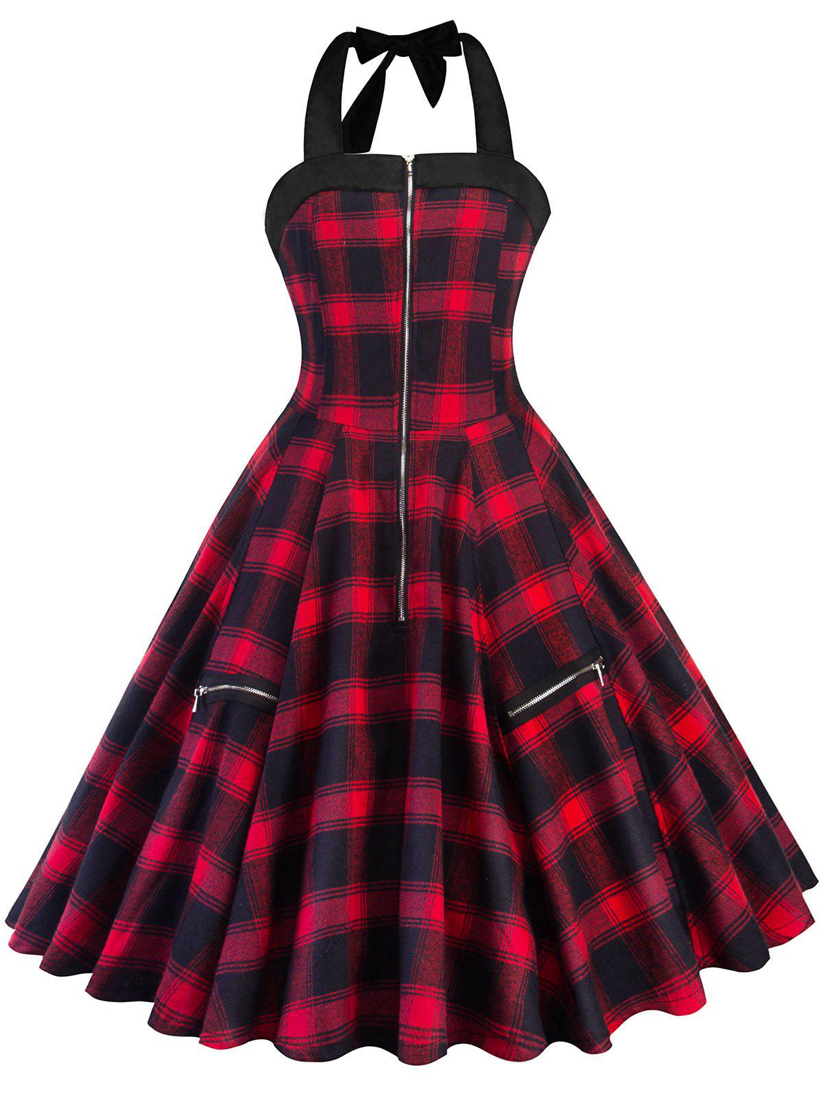 Zipper Embellished Tartan Print A Line Dress - RED M
