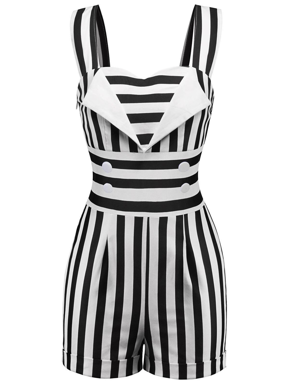 Sweetheart Neck Striped Romper - BLACK XL