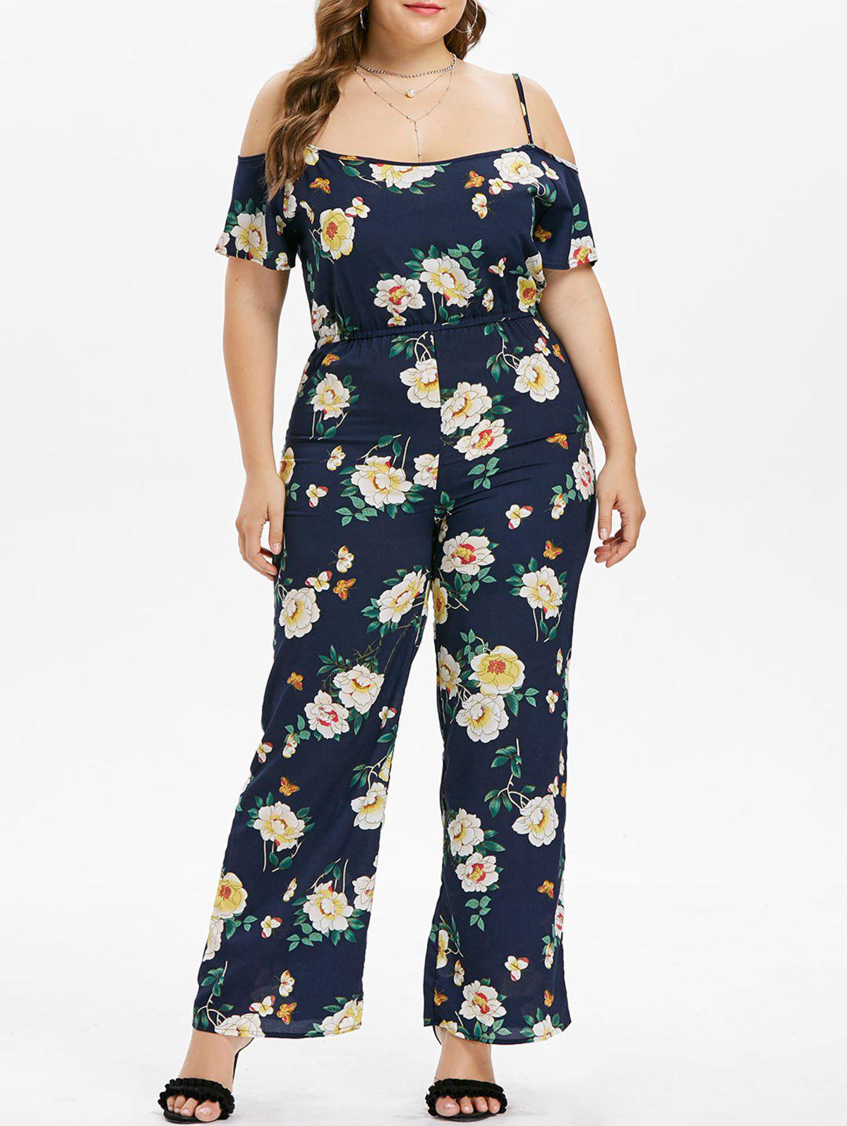 Floral Plus Size Wide Leg Jumpsuit - NAVY BLUE L