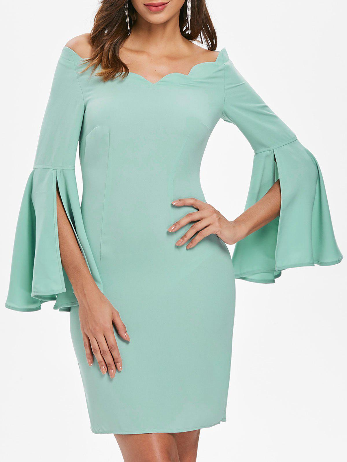 Off Shoulder Flare Sleeve Bodycon Dress - BLUE GREEN 2XL