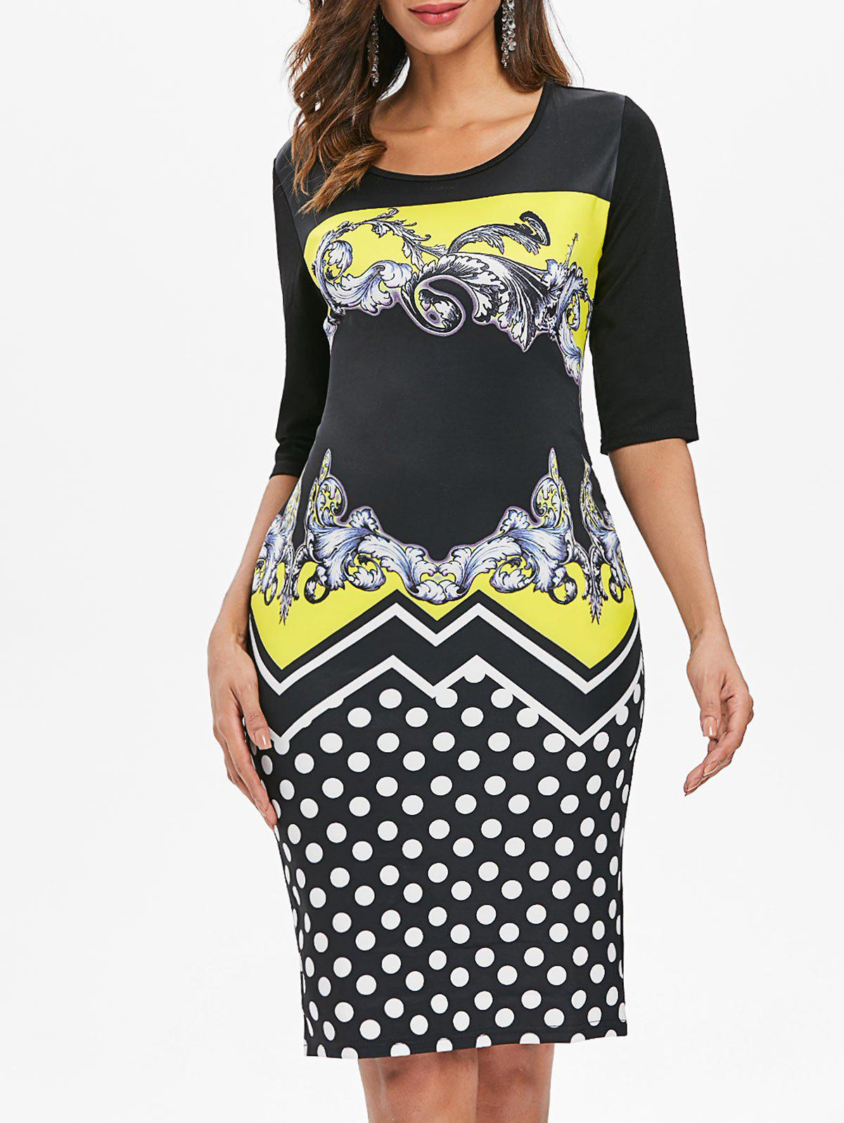 Printed Sheath Dress - YELLOW 2XL