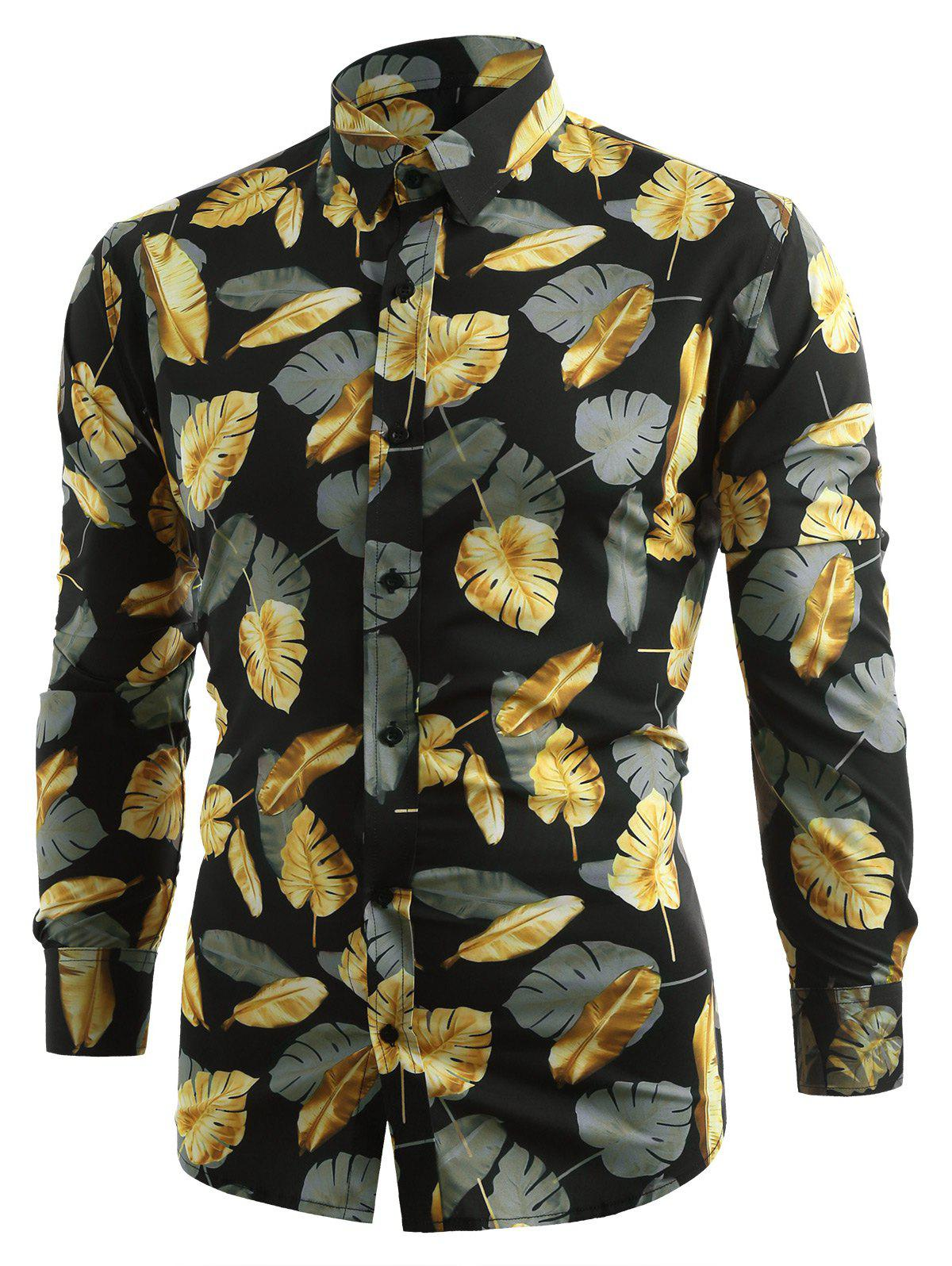 Allover Golden Leaves Print Button Up Shirt - BLACK XL