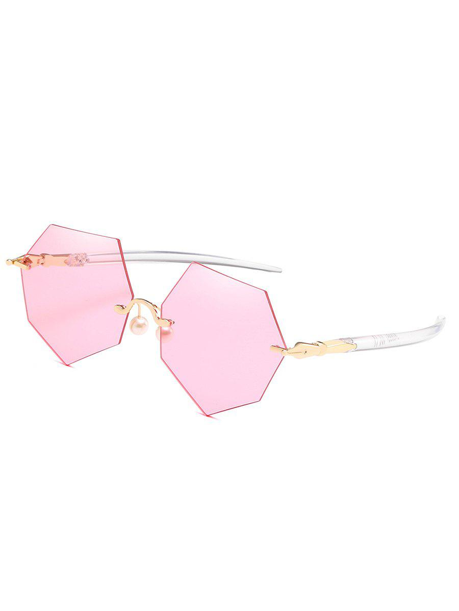 Novelty Irregular Rimless Lens Pearl Sunglasses - LIGHT PINK