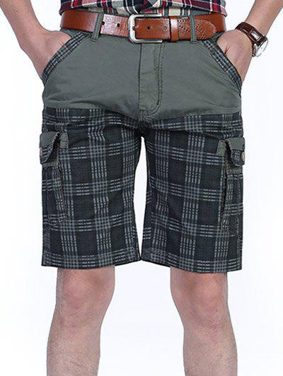 Tartan Design Patchwork Pockets Cargo Shorts - GRAY 32
