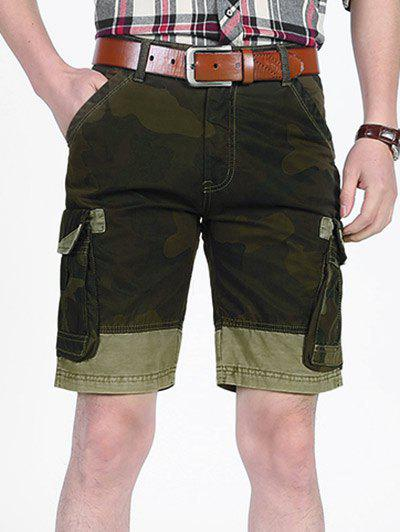 Camo Printed Six-pocket Cargo Shorts - FERN GREEN 36